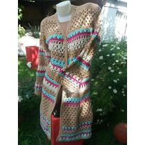 Saco, Chaleco De Hilo Crochet-reynas Tejidos Artesanales