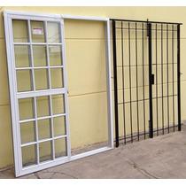 Puerta Ventana Balcon Vidrio Repartido Reja Abrir 180x200