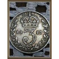 Moneda Inglaterra 3 Pence 1917 Plata Ref P5/6