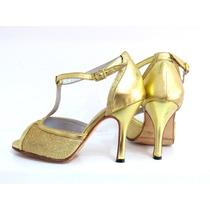 Zapatos De Baile,tango,salsa,fiesta Oro Con Lame Oro
