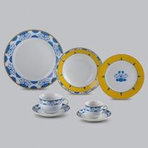 Jogo Jantar Completo Ravello Azul Amarelo 42 Pçs Wolff 17181
