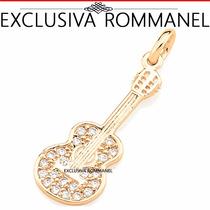 Rommanel Pingente Violao Guitarra Musical Banho Ouro 541623