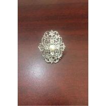 Anillo Grande De Bisuteria Con Perlita Decorativa