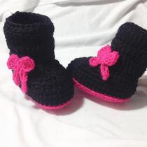 Botitas Tejidas Para Bebé Moñitos Crochet.