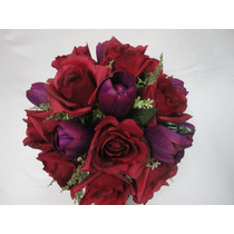 Buque Noiva Rosas Vermelha Tulipas Roxa Buque Permanente