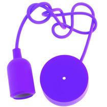 Candil Colgante Morado Socket Decorativo Luz Foco Ad4224