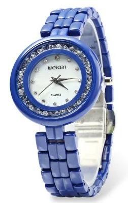 1d94ce80576 Relógio Feminino Azul Weiqin W3224 Cerâmic Não Aprova D água - R  120