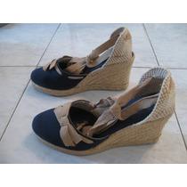 Zapato Azul Para Dama De Tela Talla 38