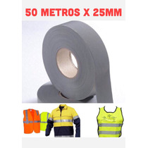 Fita Tecido Refletiva P/ Tecido E Uniformes 50 Mts X 25 Mm