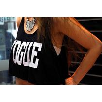 Crop Top Vogue Printed Importado T= S/m Regalo Cumpleaños