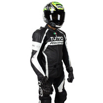 Macacão Tutto Moto Racing Branco E Prata - 2 Peças - Couro P