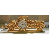 Mini Reloj De Escritorio Baño De Oro Auto Antiguo Fn4