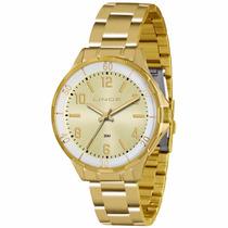 Relógio Lince Folheado A Ouro Lrg4316l Original