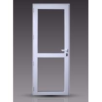 Puerta Módena Premium Aluminio Blanco 90x200 Vidrio Entero