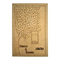 Quadro Assinaturas Casamento Árvore 60x45 350 Corações Laser