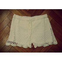 Short Tejido Crochet Con Cordón Cintura Elastizada