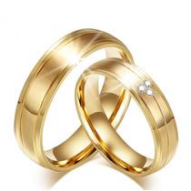 Par Alianças Casamento C/ Zircônia Baratas Linda Ouro 18k