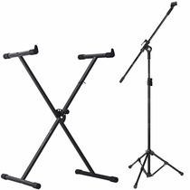 Suporte Estante P/ Teclado Musical + Pedestal P/ Microfone