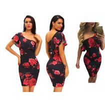 Sexy Vestido De Un Hombro, Stretch, Estampado Rosas Rojas