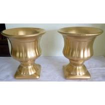 Par De Vaso Dourado Para Enfeitar De Casa E Eventos