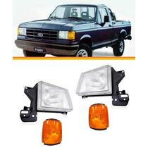 Kit 2 Farol F1000 F4000 93 94 95 96 C/ Suporte + Pisca Ambar