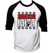 Camisa Raglan 3/4 Green Day American Idiot Rock Camiseta #2