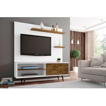 Conjunto Painel Para Tv Com Rack Onix Branco/rústico