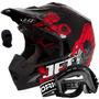 Capacete Motocross Pro Tork Jett Veneno Oculos Vermelho Red
