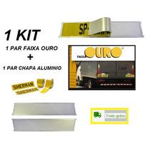Kit C/ 20 Par Faixa Ouro Refletiva Caminhões +placa Aluminio