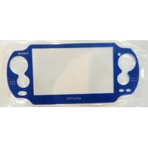 Face Plate Psp Vita Psvita Azul Frente Com Vidro