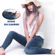 Calça Jeans Feminina Cigarrete Com Detalhe No Calcanhar Ri19