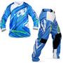 Kit Roupa Motocross Pro Tork Insane 3 Azul Camisa G Calça 44