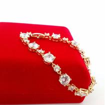 Bracelete Pulseira Feminina Zirconia Banhado Ouro 18k