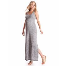 Maxi Vestido Largo Talle L/xl Musculosa Con Tajos Embarazada