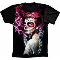 Camiseta Caveira Mexicana Camisa Linda Barata Nova Estampada