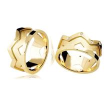 Par De Aliança Em Ouro 18k Com Diamantes Modelo Coroa
