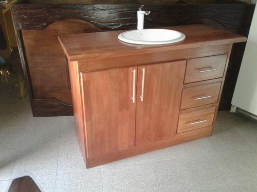 Mueble para bacha de ba o en madera r stico for Muebles para bano uruguay