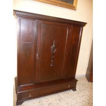 Antiguo Mueble Ingles En Madera De Caoba Con Puerta Al Cent