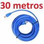 Cabo Rede Cat6 Azul 30m Metros Internet Net Pronto Usar Uso