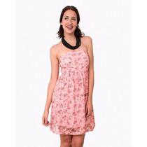 Vestido Corto De Tul Estampado Con Flores, Brishka M-0043