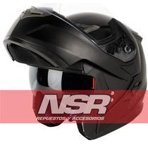 Casco Rebatible Nitro Doble Visor Negro F342 2016 Nsr Motos