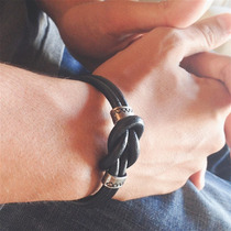 Pulseira Masculina Prata Couro Bracelete Cardin Design