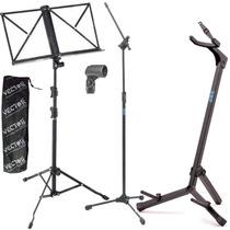 Estante Partitura Pedestal Microfone Cachimbo Suporte Violão