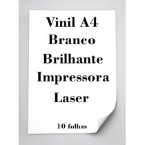 Vinil Adesivo Branco Brilhante A4 Impressora Laser 10 Folhas