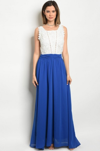 156c267ca Vestido Fiesta Azul Rey Con Encaje Blanco Ropa Dama -   590.00 en ...