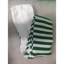 20 Mallas Gruesas Rayada Blanco Con Verde Para Niña