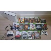 Xbox 360 Original Controle Com Headset Chatpad + 15 Jogos