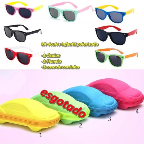 bd7ccf08ba0ed óculos de sol infantil flexível polarizado c  kit completo. Carregando zoom.
