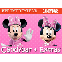 Kit Imprimible Minnie Mouse - Candy Bar + Promo 2x1