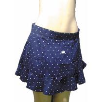 Shorts Saia Rodada Com Bolinhas Brancas Fechamento Ziper